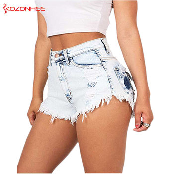Sexy Enzyme Wash Women Denim Short High Waist Tassel Hole Tassel Denim Shorts Female Ripped Summer Jeans Shorts roll up ripped denim shorts