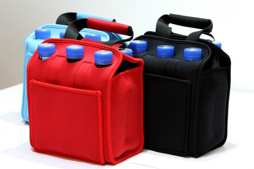 Neoprene insulated six pack beer cooler bag