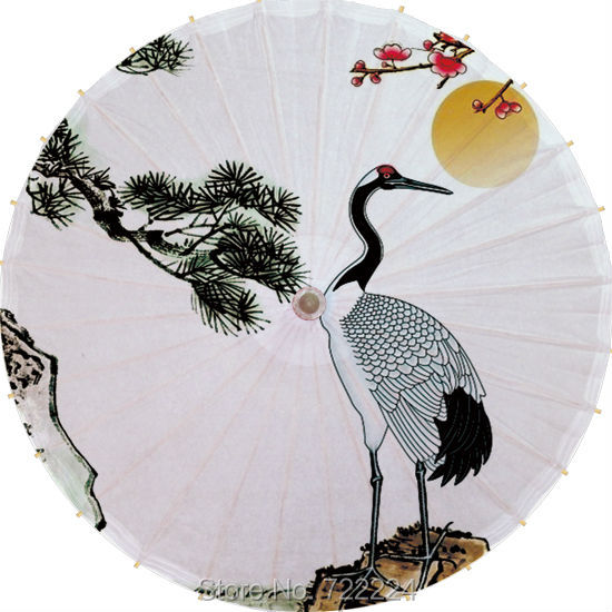 Dia 84cm Chinese Crane Picture classical handmade long-handle umbrella waterproof cosplay decorative dance oiled paper umbrella dia 84cm chinese handmade craft dreamlike butterfly oil paper umbrella cosplay drama props dance collection gift umbrella