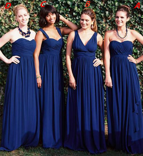 2015 Navy Blue Bridesmaid Dress Sexy Chiffon Empire