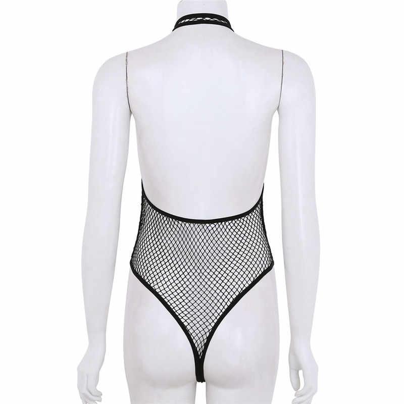 9c4dbd40336c ... YiZYiF Women See Through lingerie Fishnet Thong Bodysuit Sexy One-piece Lingerie  Mesh Halter Neck ...