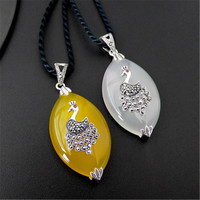 BESTLYBUY Real 925 Sterling Silver Jewelry Thai Silver Retro Yellow & White Agates Peacock Pendant for Women Without Chain