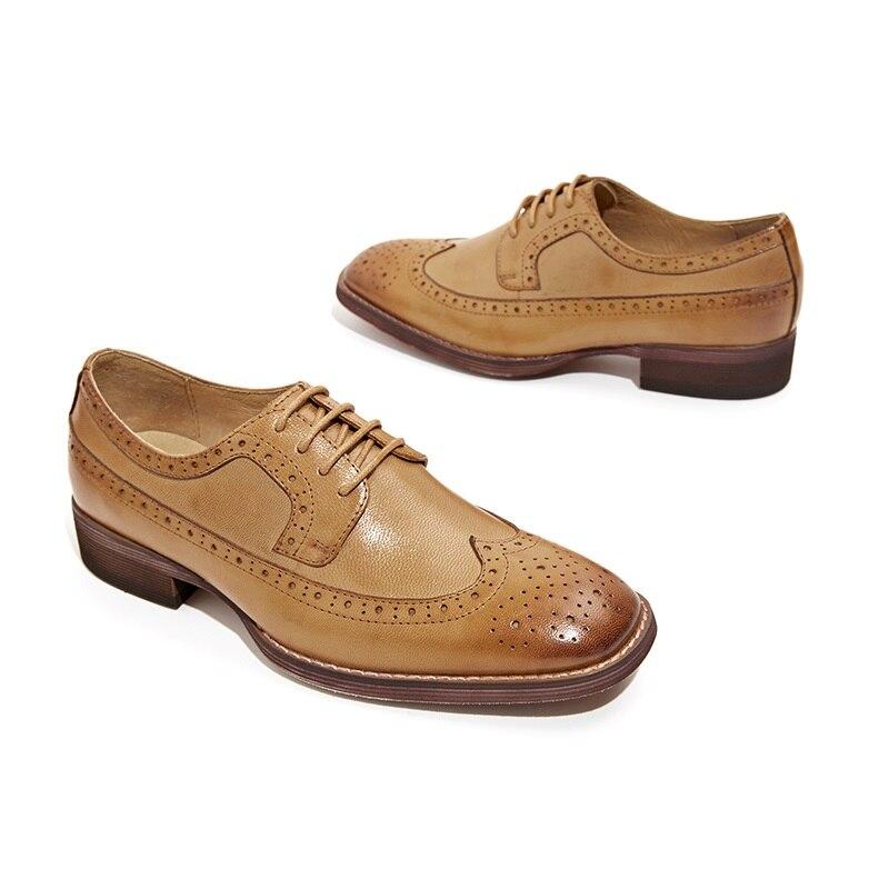 BeauToday Sapatos Brogue Wingtip Depilação de Pele De Carneiro Couro Genuíno Das Mulheres Flats Lace Up Dedo Do Pé Quadrado Sapatos Femininos Feitos À Mão 21098 - 2
