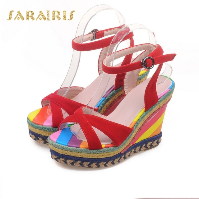 4f7f8099120b SARAIRIS Large Size 33-43 Ankle Strap Rainbow Colorful High Heel Wedge Open  Toe Platform Summer Wedding Shoes Woman Sandals