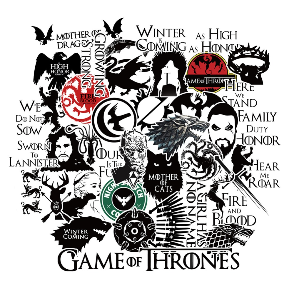 HaokHome Game of Thrones Vinyl Sticker Bomb Black Car Bumper Computer Laptop Cup Scrapbooking refrigerator waterproof Decal цена