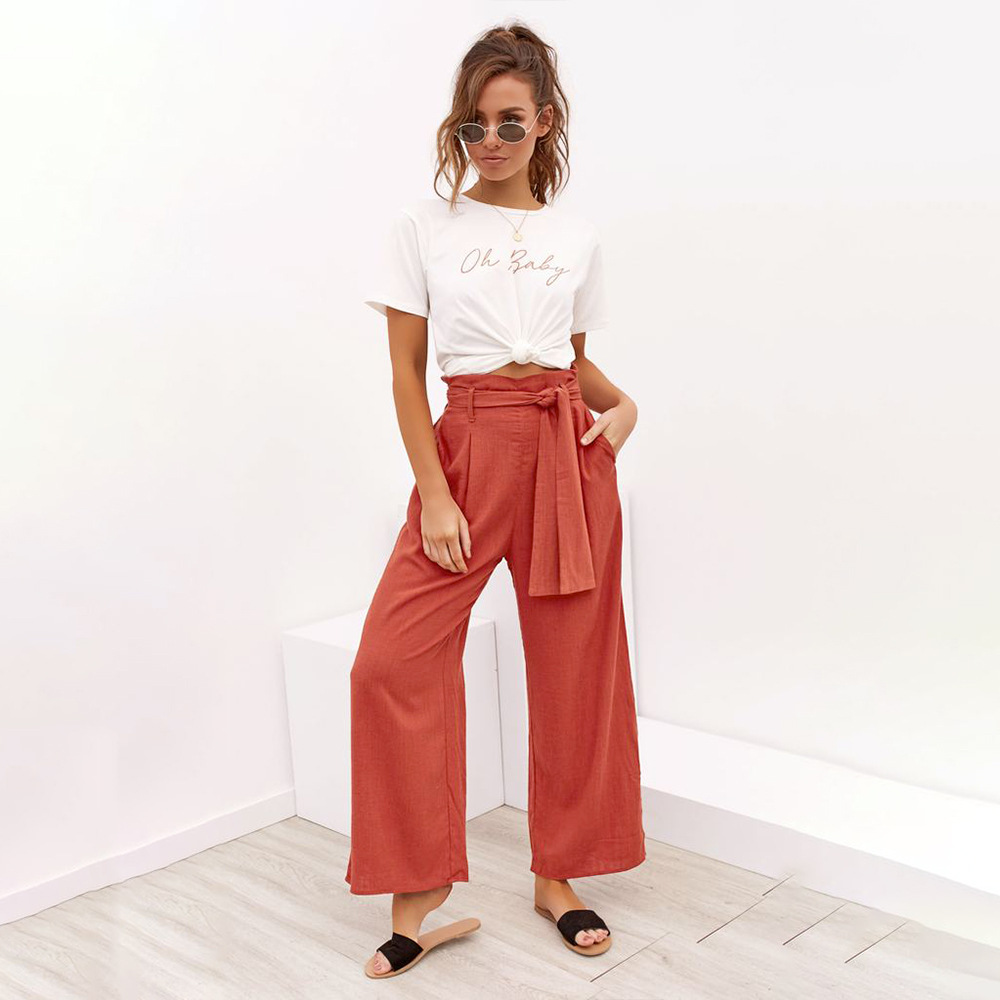 Casual Cotton Linen High Waist Wide Leg Pants 28