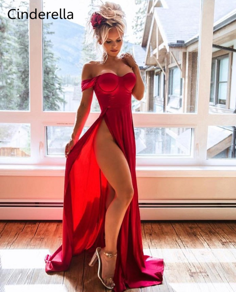 Cinderella Red Sweetheart Off The Shoulder Train Mermaid Silk Satin   Prom     Dresses   Red Zipper Back Court Train Party   Prom   Gowns