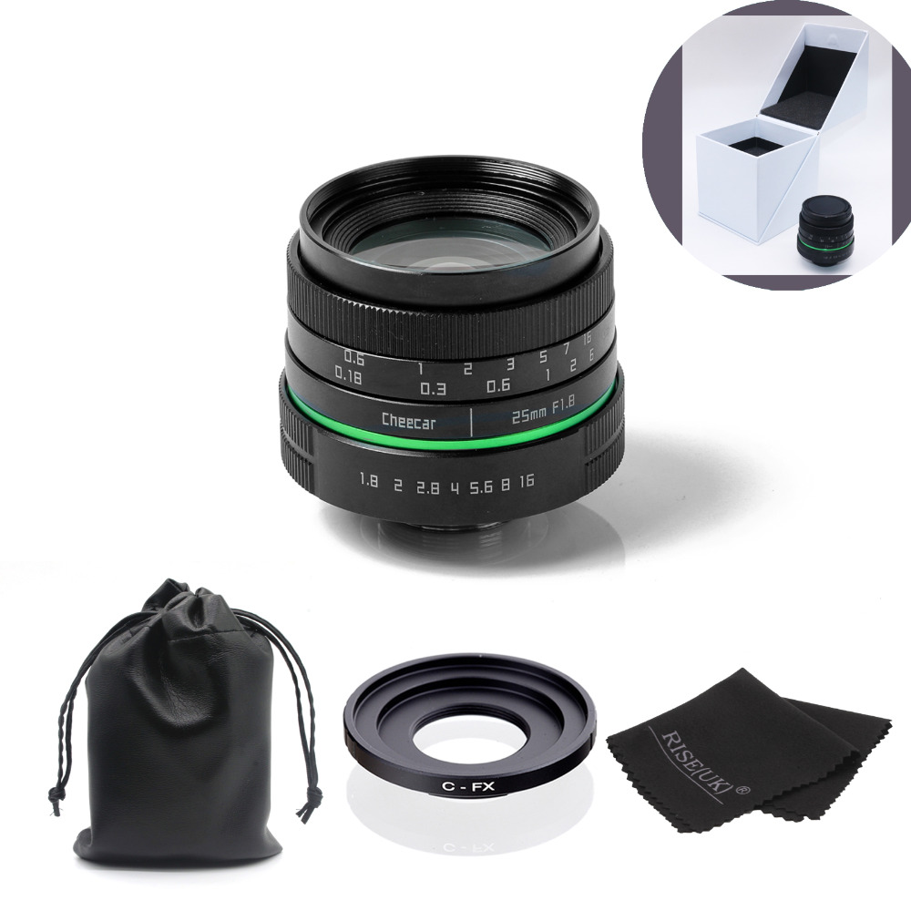 New green circle 25mm CCTV camera lens for the Fujifilm X-E1, X-Pro1 with c-fx adapter ring + bag + big box +Free Shipping +Gift new green circle 25mm cctv camera lens for fujifilm x e1 x pro1 with c fx adapter ring free shipping