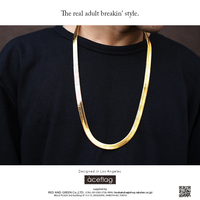 צבע זהב שרשרת קישור נחושת פליז גלם מגניב עצם שטוח נחש אדרה שרשרת תכשיטי גברים נשים וינטג 'שרשרת N257