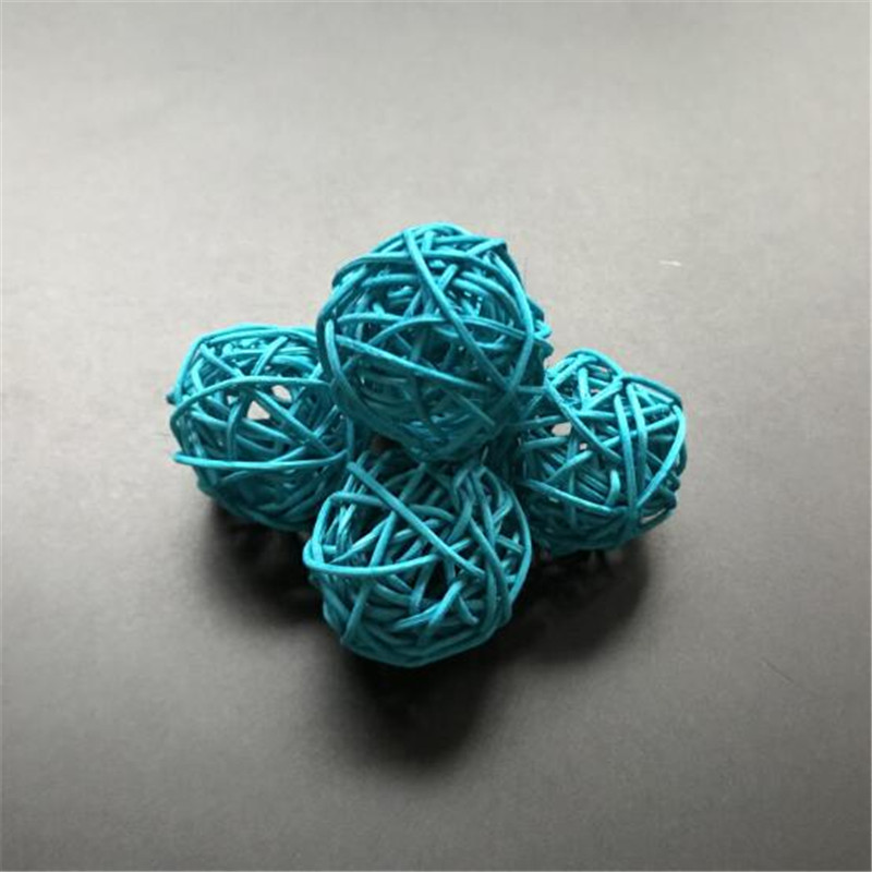30pcs 4cm Blue Rattan Ball for Light String Lights for Banquet Home and Trees holliday Decorations