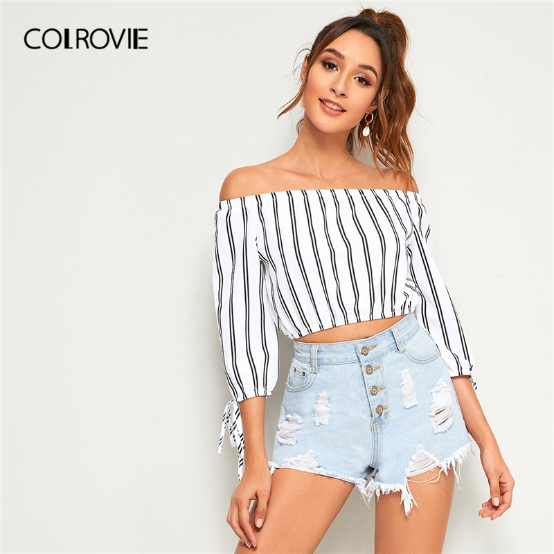 COLROVIE Black and White Off The Shoulder Striped Knot Cuff Casual   Blouse     Shirt   Women Crop Top 2019 Summer Korean Ladies   Blouses