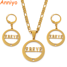 Anniyo EBEYE Island Pendant Necklaces Earrings sets for Women,Gold Color Jewelry style Gifts CANNOT CUSTOMIZE #035521