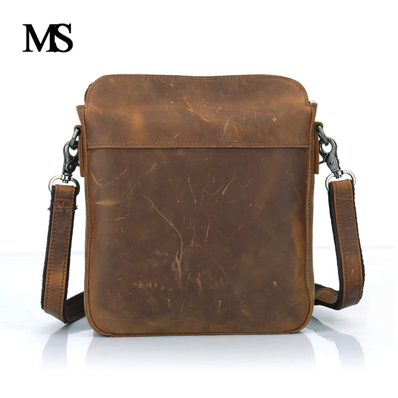 MS Business Men Genuine Leather Bag Natural Cowskin Men Messenger Bags Vintage Men's Cowhide Shoulder Crossbody Bag TW2004