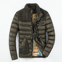 Fashion Men S Knitted Jacket Winter Warm Quilted Coat Puffer Jacket Brand Men S Clothing Casual