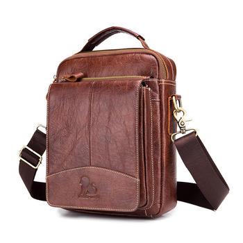LAOSHIZI LUOSEN Messenger Bag Men Genuine Leather Shoulder Bag Men's bags Small Flap Casual Crossbody Bags for Men Handbag