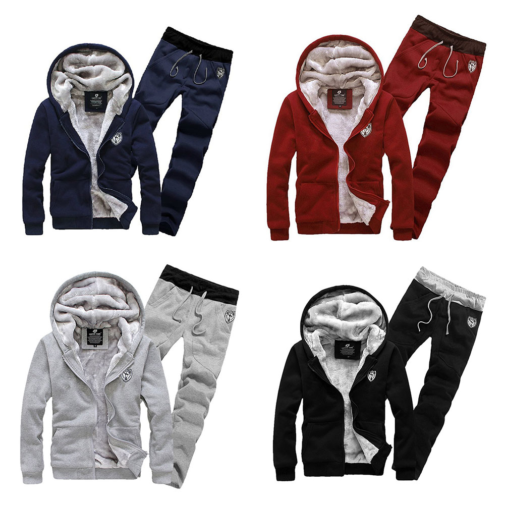 New Men's Baseball Suit  Fashion High Quality Thickened Velvet Hoodie Coat + Sweatpants Trousers FS99