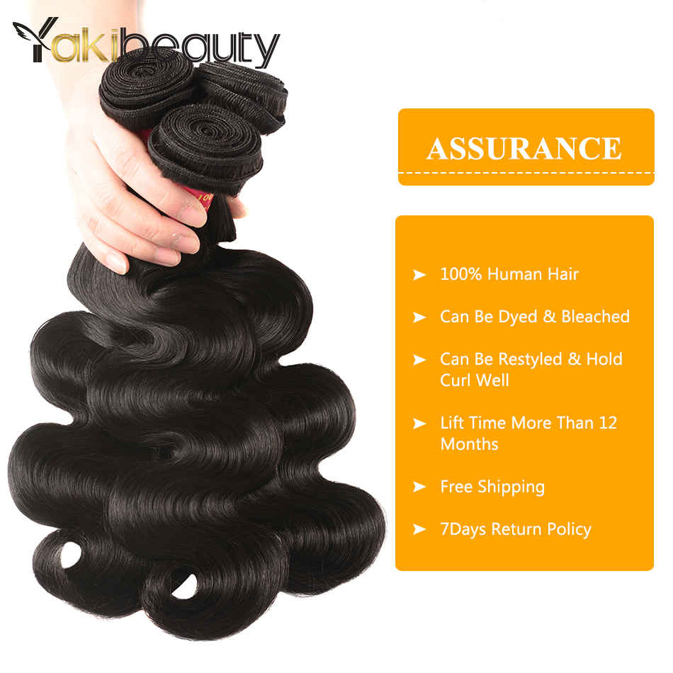 Yakibeauty Human Hair Body Wave Bundles With Closure Raw Indian Hair 3 Bundles With Closure 4*4 Free Part Remy Hair Extensions