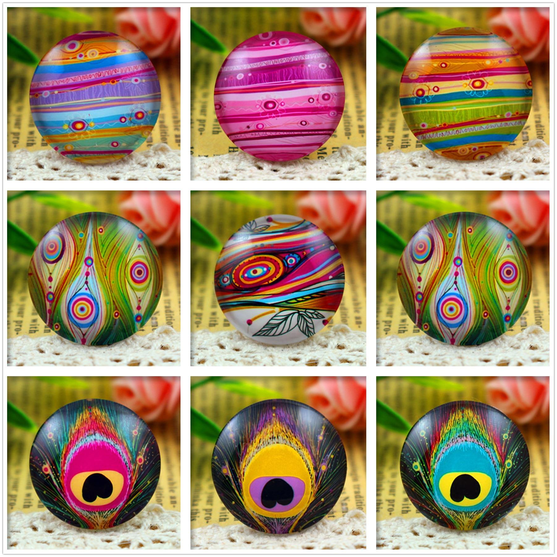New Fashion 5pcs/Lot 25mm Handmade Photo Glass Cabochons (Feather eyes series)