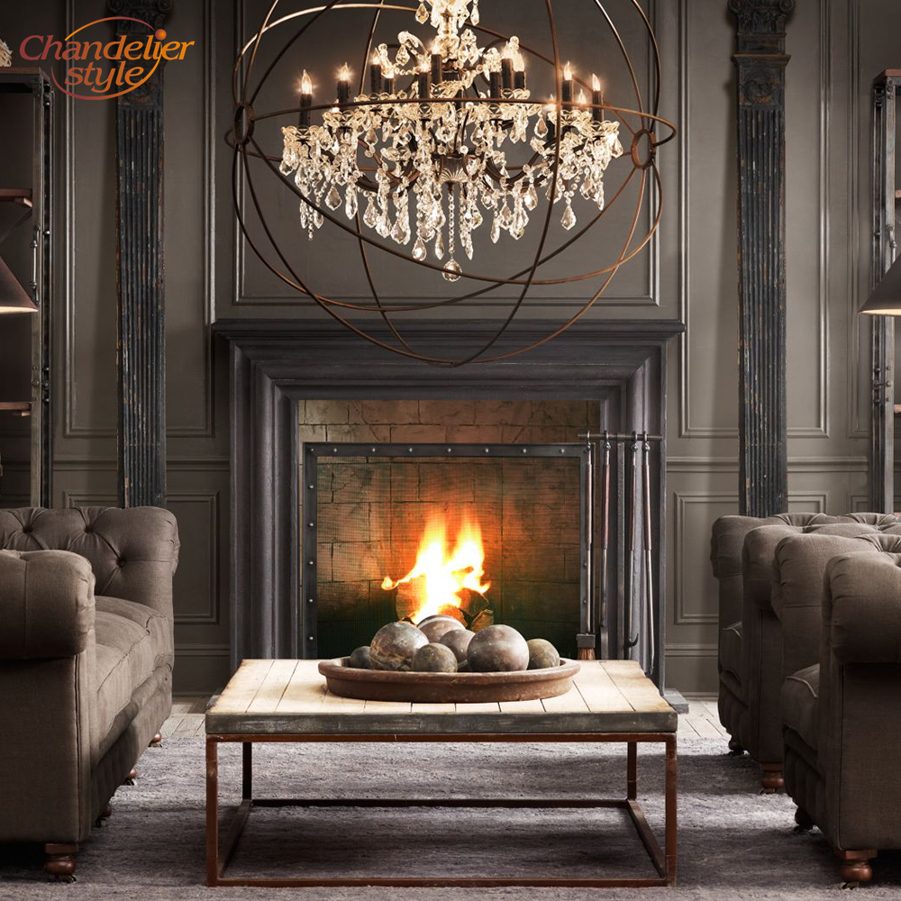 Image 5 - Foucaults Orb Clear Crystal Chandelier Lighting Rustic Candle Chandeliers LED Pendant Hanging Light for Living Dining Room-in Chandeliers from Lights & Lighting