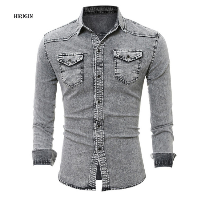 f23132232be HIRIGIN Denim Shirt Men Cotton Jeans Shirt fashion Slim Shirt Long Sleeve  Cowboy shirt Stylish Wash Slim Fit Tops Asian Size