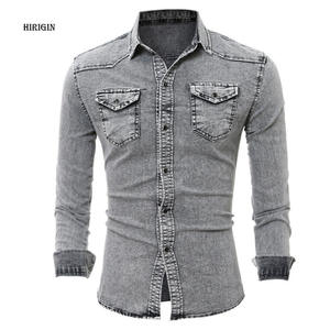 0b1fcbae HIRIGIN Denim Shirt Men Cotton Long Sleeve Slim Fit