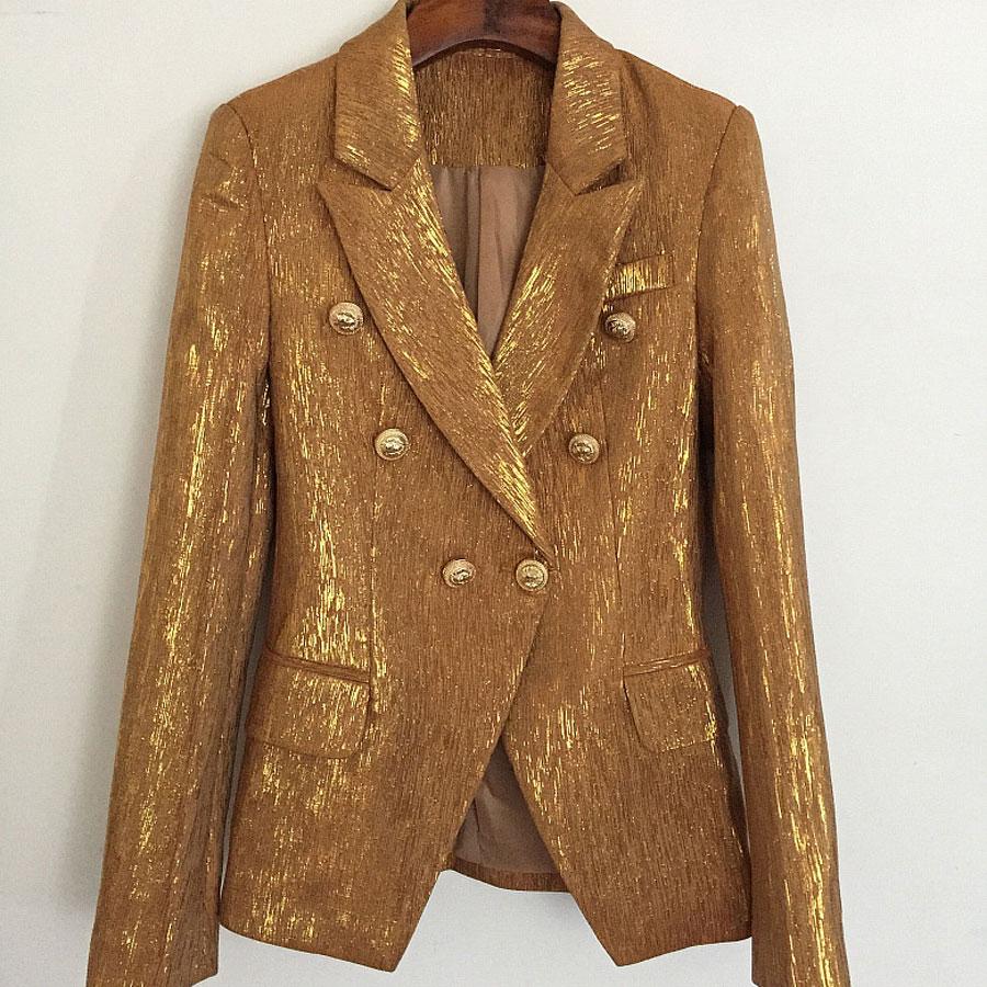 Longues Jacksts 1 Manteau Breasted Nouveau Plus Automne Mode Double Veste À Designer Manches Blazers La Taille Haute Qualité Femmes Vestes Or RqHPc4zqw