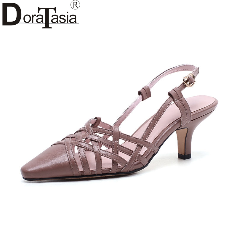 DoraTasia 2018 Summer Sexy Overall Genuine Leather Women Sandals Fashion Brand Breathable Pointed Toe Shose Woman High Heels