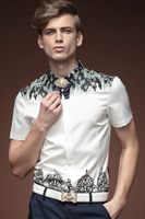Free Shipping New Fashion Casual Male Men S Casual Collar Slim Short Sleeved Summer Shirt 15347