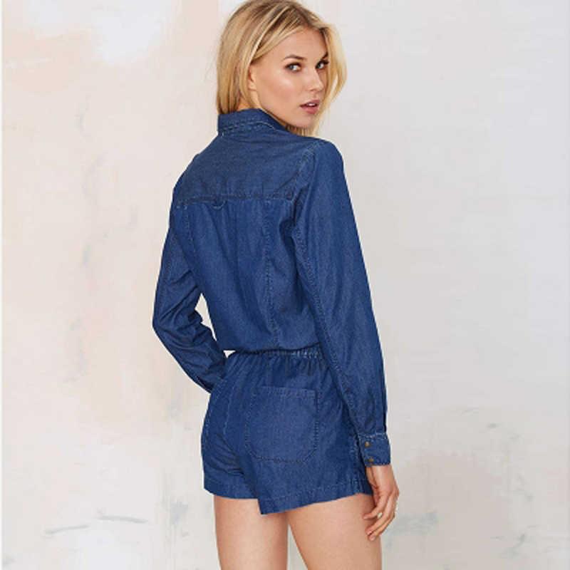 HDY Haoduoyi винтажный однобортный комбинезон модный карго короткий комбинезон плейсьют с длинными рукавами синие джинсовые комбинезоны женские комбинезоны