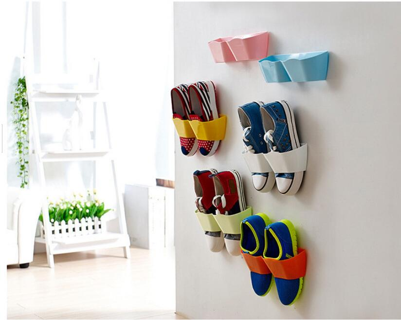 Fashion three-dimensional wall hung shoe shelf rack storage Candy color paste home furniture cabinet DIY bathroom rak dinding minimalis diy