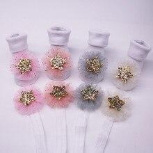 Весенняя одежда принцессы для маленьких девочек хлопковые однотонные носки для девочек+ Кружевная повязка на голову со звездами с блестками, теплые нескользящие носки, зимние