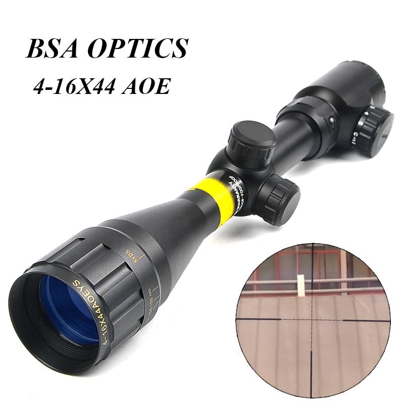 BSA OPTICS 4-16x44 AOE Adjustable Tactical Optic Sight Green Red Illuminated Riflescope Hunting Scopes For Sniper Rifle