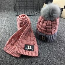 Зимняя Мягкая флисовая вязаная шапка, шарф, набор для детей, новинка, утолщенная шапочка, шарф с нашивки из искусственной кожи