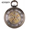 Steampunk relógios de bolso fob Cadeia Pendente do vintage transparentes Esqueleto Da Mão-vento Mecânica Pocket Watch Men Relogio De Bolso