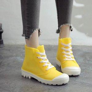 Image 4 - SWYIVY امرأة احذية المطر عالية كبار أحذية رياضية الخريف 2018 الإناث البلاستيكية موضة Rainboots حذاء كاجوال سيدة شقة Wellies احذية المطر 40