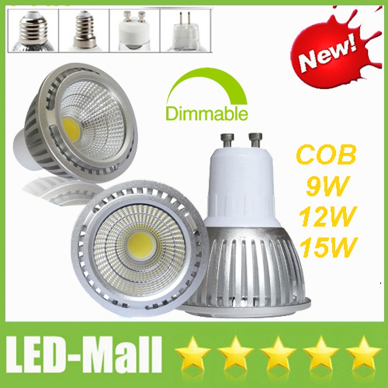Silver Shell CREE COB 9W 12W 15W LED Spotlights Spot Lights display Ceiling Bombillas Lampada Bulbs Lamps GU10 E27 E14 MR16