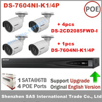 Hikvision DS 7604NI K1 4P 4CH With 4 Ports POE 4K NVR 4pcs Hikvision DS 2CD2085FWD