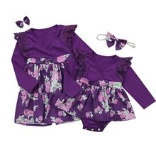 Family Clothes Sisters Matching Dress Newborn Baby Girl Bodysuit Outfit Set