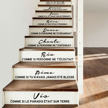 Staircase sticker French quote Cheris ta famille vinyl wall decal wall art living room home decor