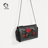KUJING Mode Handtassen High-end PU Geborduurde Vrouwen Schouder Tas Dames Party Casual Bag Hot Zwart Zakelijke Dame tas