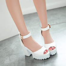 Hot sale 2017 ankle strap summer sandals women pumps brand thick heel platform heels sandals for girls fashion shoes thick soles