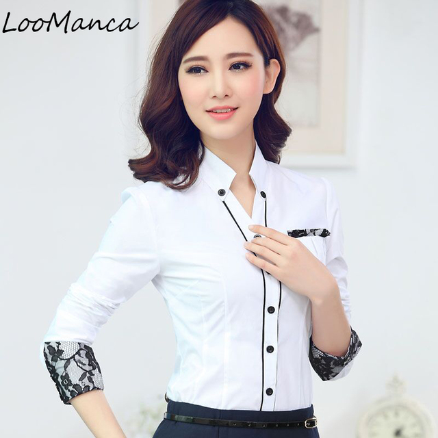6366d4e954 US $11.89 |Formal women long sleeve shirt 2019 New slim elegant blouses  shirts ladies white blue gray office work plus size clothes tops-in Blouses  & ...