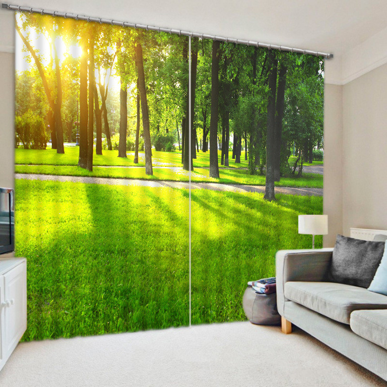 Park Sunshine and Green Shade Curtains Decorative for Bedding Living Room Thick Backout Shade Office Shround