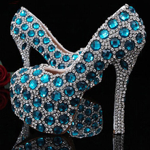 Homecoming Graduation Ceremony Shoes luxury blue gems rhinestones handmade shoes big crystals diamonds high heels wedding shoes
