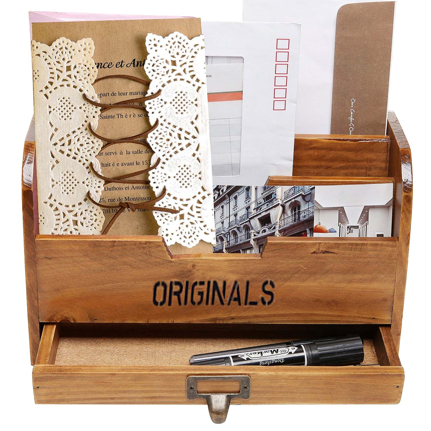 wooden home office desk paper file letter mail box storage sorter holder desktop key pen