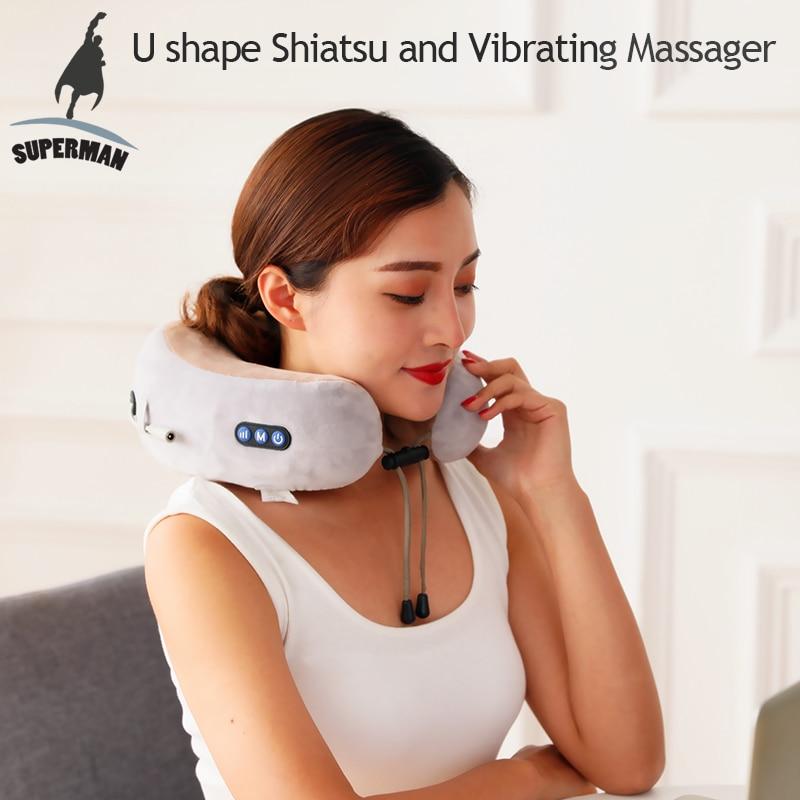 Electric U-Shaped Massage Pillow Cervical Vertebra Massager Car&Home Use Neck Shoulder Relaxation Tool Health Care
