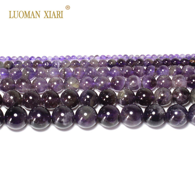 Fine AAA 100% Natural Amethyst  Crystal Stone Beads For Jewelry Making DIY Bracelet Necklace 4/6/8/10/12mm Strand 15'' 1