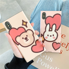 Love heart bear women scrub silicone soft case for iPhone xs xr x xsmax 8 7 6 6s plus cartoon pink rabbit cover cases