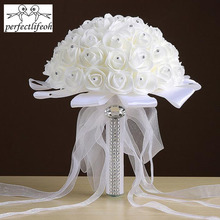 perfectlifeoh Beautiful Bridesmaid Wedding Decoration foamflower Rose Bridal Bouquet White Satin Romantic Wedding bouuet