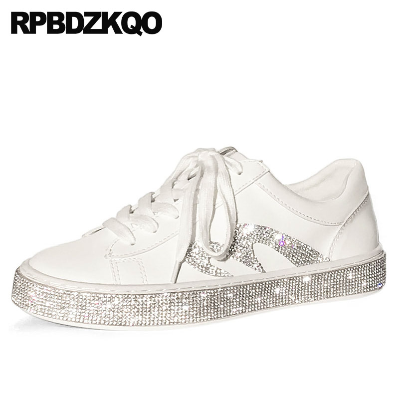 Creepers Platform Shoes Lace Up Large Size Walking Thick Sole Sneakers White Korean Muffin Rhinestone Crystal Flats Women Spring xiaying smile woman sneakers shoes women flats spring summer thick sole embroider rose lace up black white student women shoes